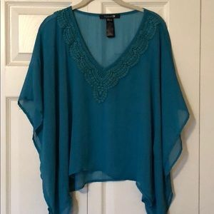 Turquoise sheer top small